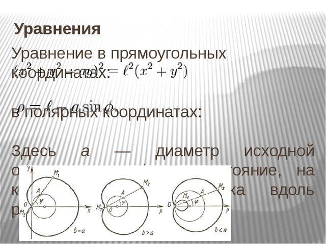 Уравнения Уравнение в прямоугольных координатах: ...