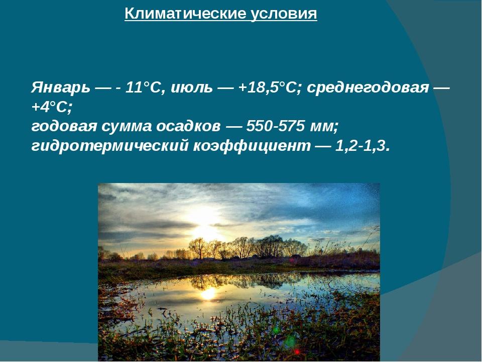 Климатические условия Январь — - 11°С, июль — +18,5°С; среднегодовая — +4°С;...
