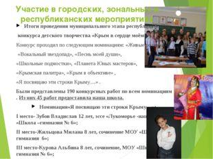 Участие в городских, зональных и республиканских мероприятиях Итоги проведени