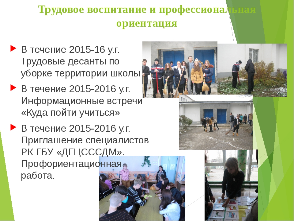 Трудовое воспитание и профессиональная ориентация В течение 2015-16 у.г. Труд...