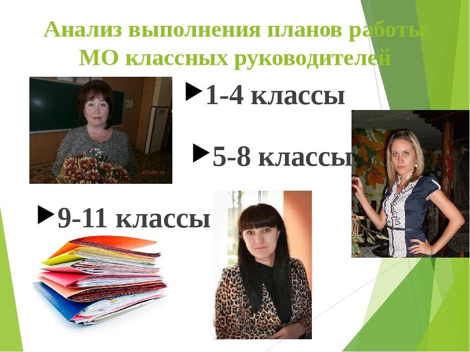 Анализ выполнения планов работы МО классных руководителей 1-4 классы 5-8 клас...