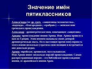 Значение имён пятиклассников Алекса́ндра(отдр.-греч. «защитница человечест