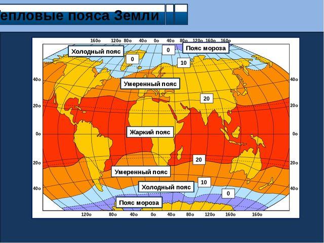 Тепловые пояса Земли Пояс мороза Холодный пояс Умеренный пояс Жаркий пояс Ум...