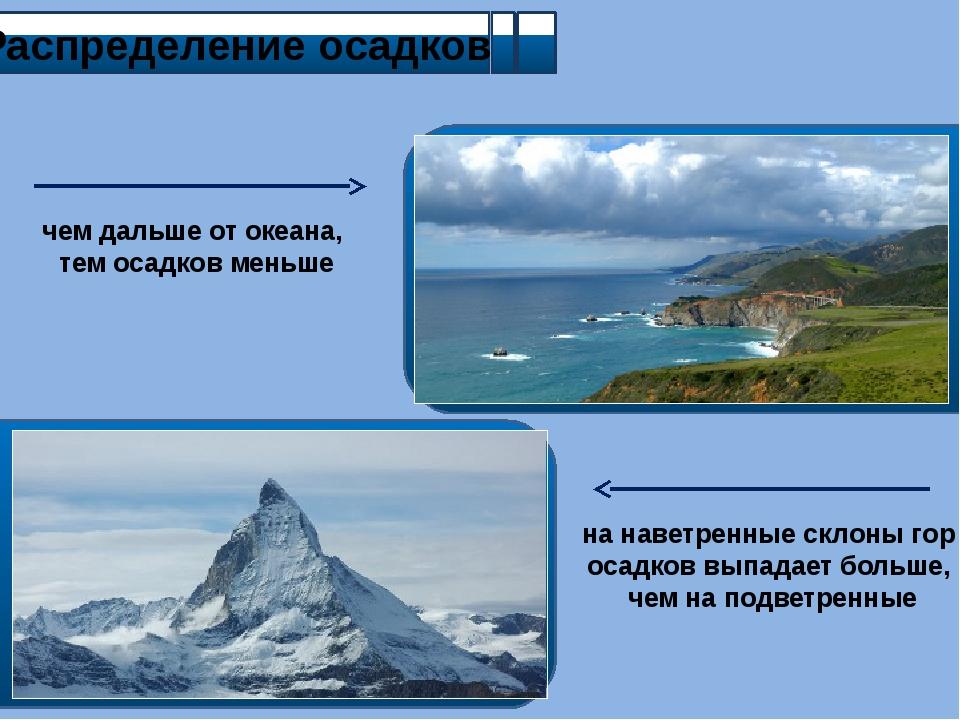 Распределение осадков чем дальше от океана, тем осадков меньше на наветренны...