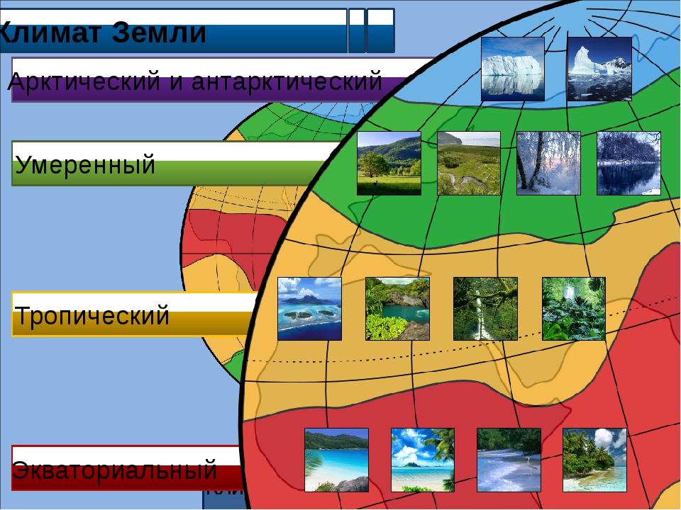 Климат Земли Климатические пояса Земли Арктический и антарктический Умеренны...