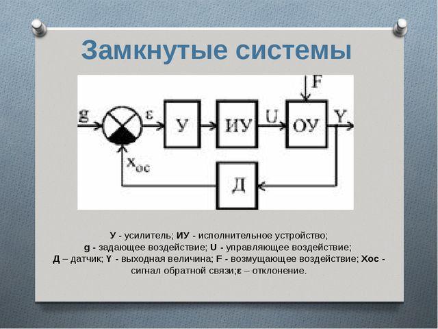Замкнутые системы У - усилитель; ИУ - исполнительное устройство; g - задающее...