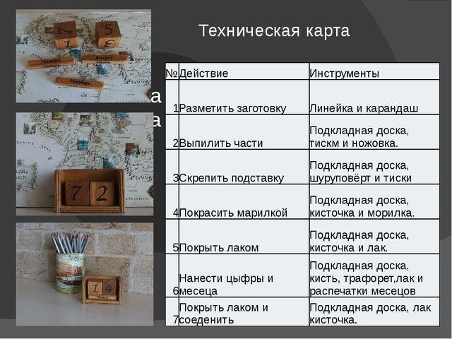 Техническая карта № Действие Инструменты 1 Разметить заготовку Линейка и кара...
