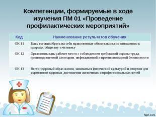 Компетенции, формируемые в ходе изучения ПМ 01 «Проведение профилактических м