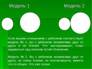 Модель 1 Модель 2 Если вашим отношениям с ребенком соответствует модель № 1,