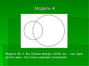 Модель 4 Модель № 4. Вы близки между собой, вы – как одно целое «мы». Это оч