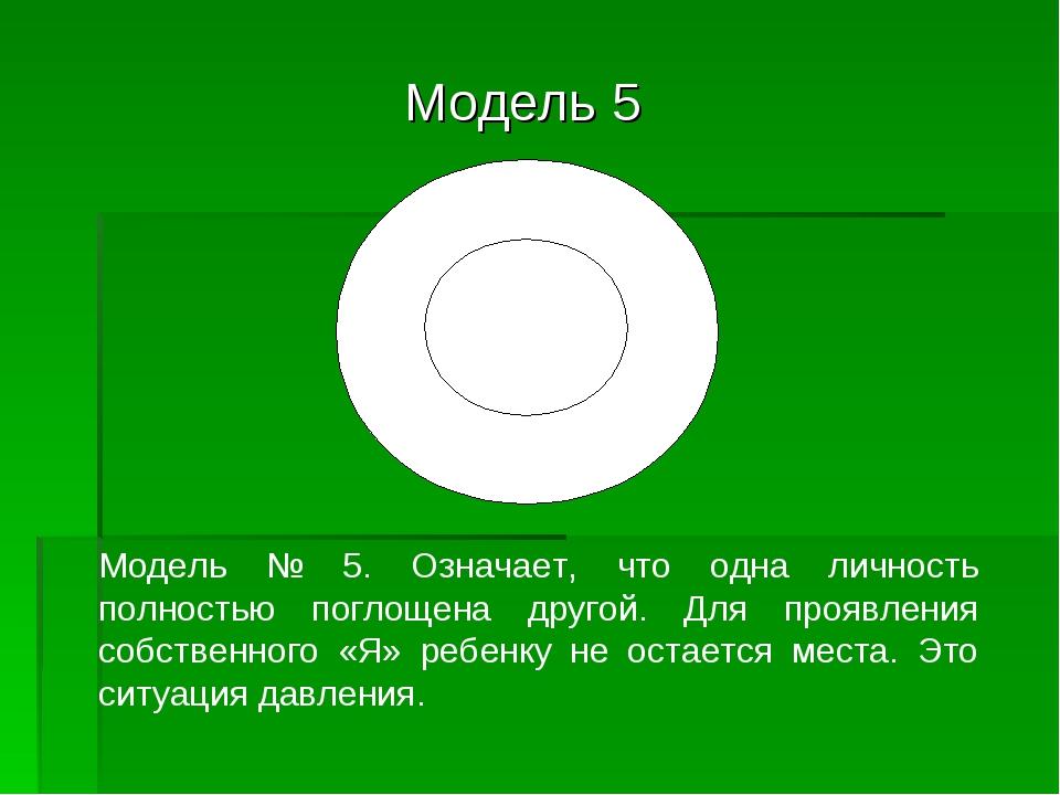 Модель 5 Модель № 5. Означает, что одна личность полностью поглощена другой....