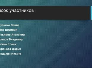 Список участников Самусенко Элина Сычев Дмитрий Евдокимов Анатолий Гаврилов В