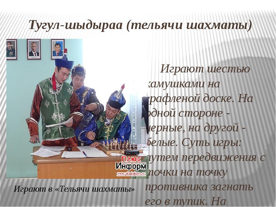 Тугул-шыдыраа (тельячи шахматы) Играют шестью камушками на графленой доске. Н...