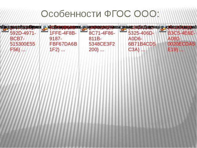 Особенности ФГОС ООО: