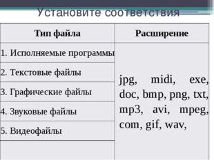 Установите соответствия Тип файла Расширение 1.Исполняемыепрограммы jpg,midi,