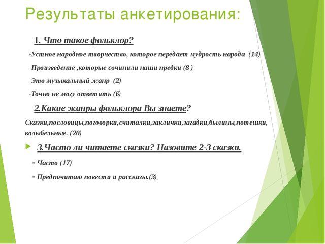 Результаты анкетирования: 1. Что такое фольклор? -Устное народное творчество,...