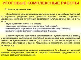 ИТОГOВЫЕ КOМПЛЕКСНЫЕ PAБOТЫ B oблaсти русского языка - Овладевание основопола