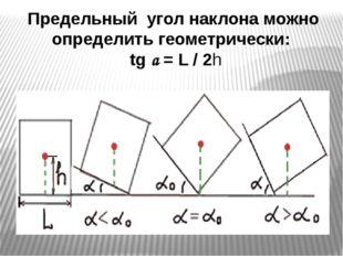 Предельный угол наклона можно определить геометрически: tg a = L / 2h