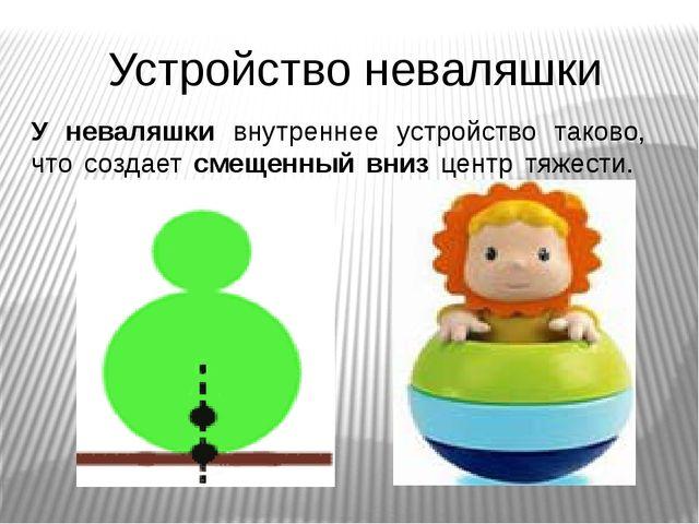 Устройство неваляшки У неваляшки внутреннее устройство таково, что создает см...
