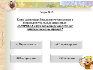 Вопрос №15 Князь Александр Ярославович был князем в нескольких удельных княже