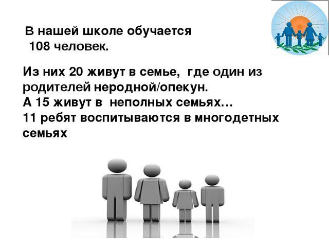 В нашей школе обучается 108 человек. Из них 20 живут в семье, где один из род...