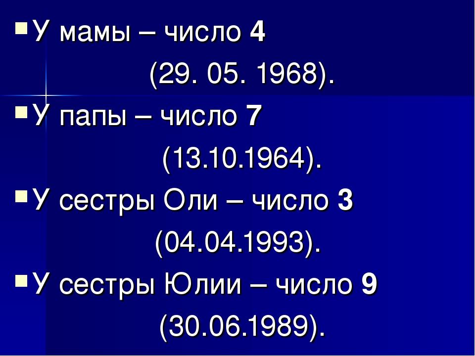 У мамы – число 4 (29. 05. 1968). У папы – число 7 (13.10.1964). У сестры Оли...