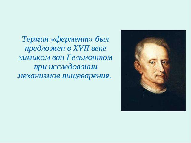 Термин «фермент» был предложен в XVII веке химиком ван Гельмонтом при исслед...