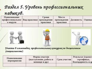 Раздел 5. Уровень профессиональных навыков. Участие в олимпиадах, профессиона