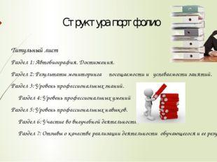 Структура портфолио Титульный лист Раздел 1: Автобиография. Достижения. Разде