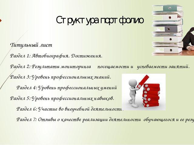 Структура портфолио Титульный лист Раздел 1: Автобиография. Достижения. Разде...