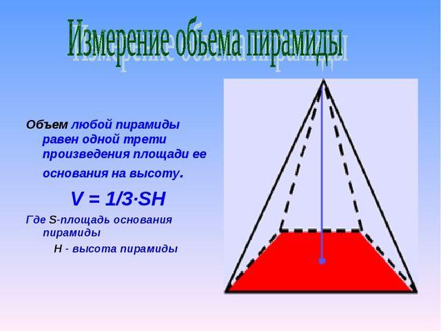 Объем любой пирамиды равен одной трети произведения площади ее основания на...