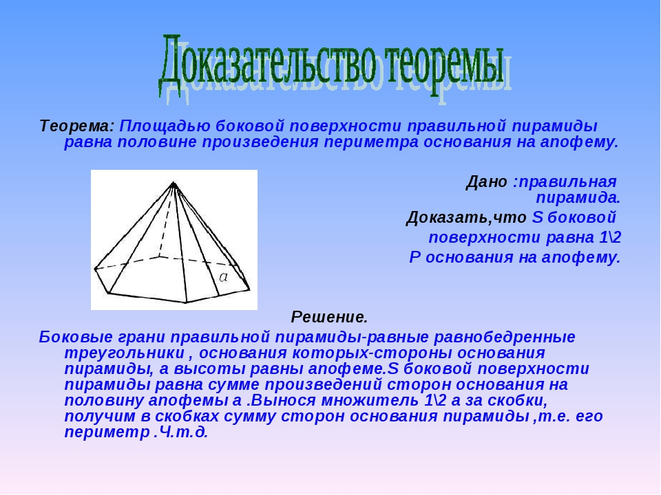 Теорема: Площадью боковой поверхности правильной пирамиды равна половине прои...