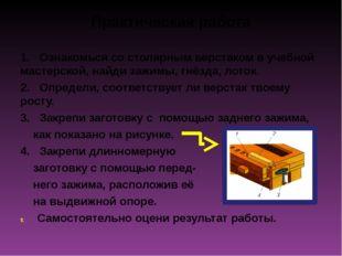 Практическая работа 1. Ознакомься со столярным верстаком в учебной мастерской