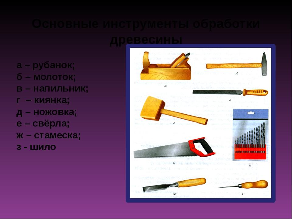 Основные инструменты обработки древесины а – рубанок; б – молоток; в – напиль...