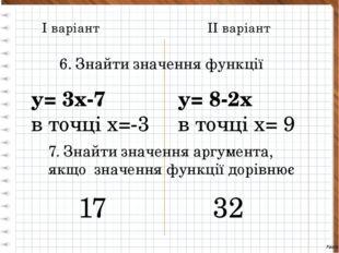 І варіант ІІ варіант 6. Знайти значення функції у= 3х-7 в точці х=-3 у= 8-2х