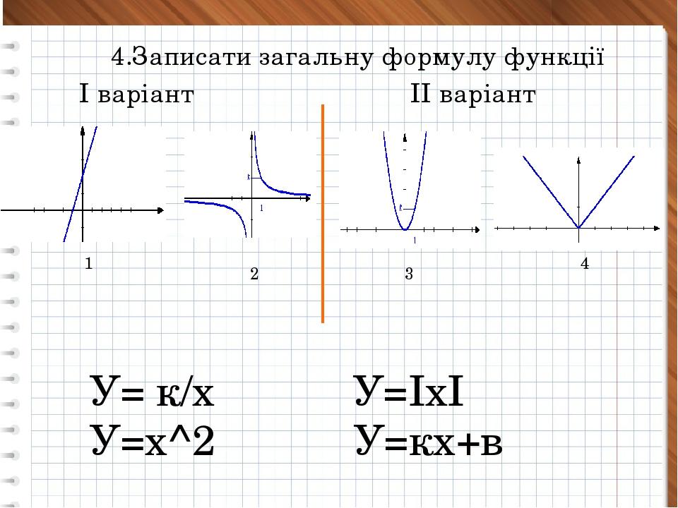 4.Записати загальну формулу функції 1 2 3 4 У= к/х У=ІхІ У=х^2 У=кх+в І варі...