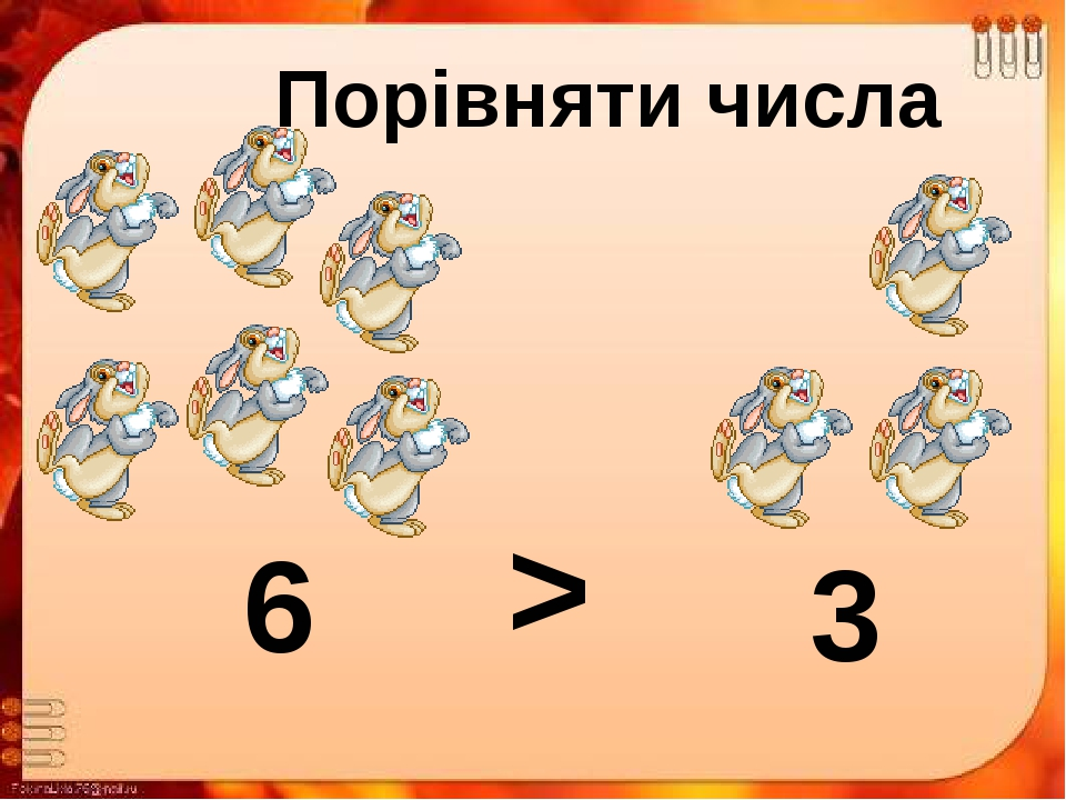 Порівняти числа 6 3 <