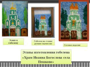 Эскиз к гобелену Готовое изделие Гобелен на станке ручное ткачество Этапы изг