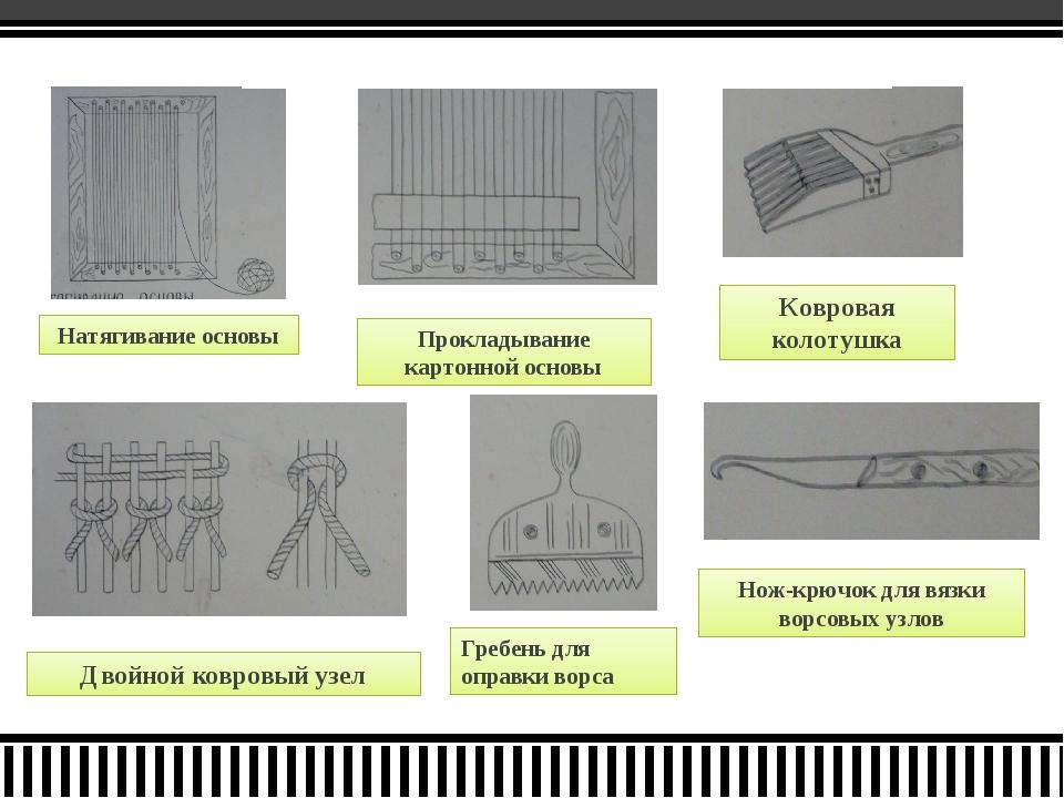 Натягивание основы Прокладывание картонной основы Двойной ковровый узел Гребе...