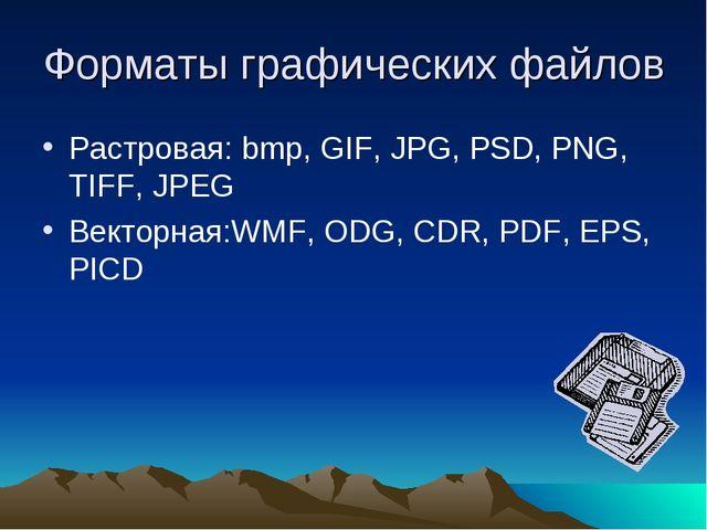 Форматы графических файлов Растровая: bmp, GIF, JPG, PSD, PNG, TIFF, JPEG Век...