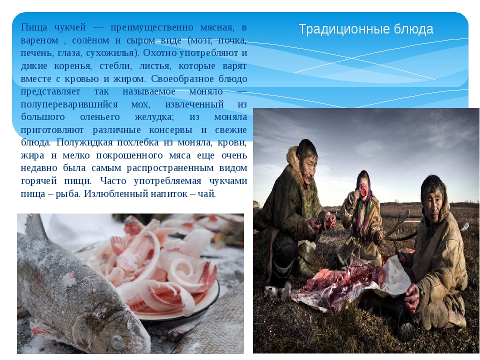 Пища чукчей — преимущественно мясная, в вареном , солёном и сыром виде (мозг,...