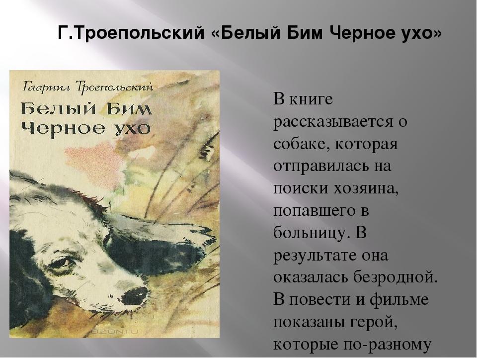 Г.Троепольский «Белый Бим Черное ухо» В книге рассказывается о собаке, котора...