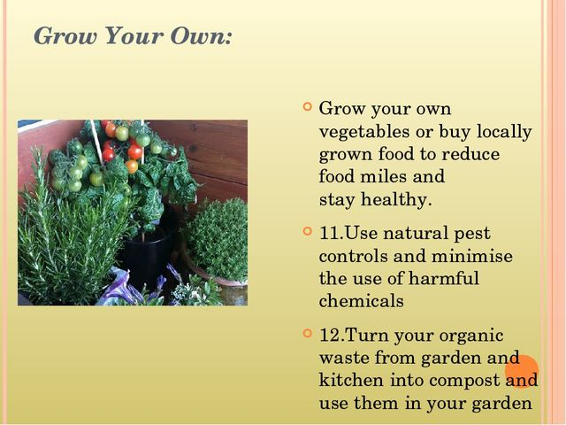 Grow Your Own: Grow your own vegetables or buy locally grown food to reduce f...