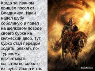 Когда за Иваном пришёл посол от Владимира, Иван надел шубу соболиную и повел