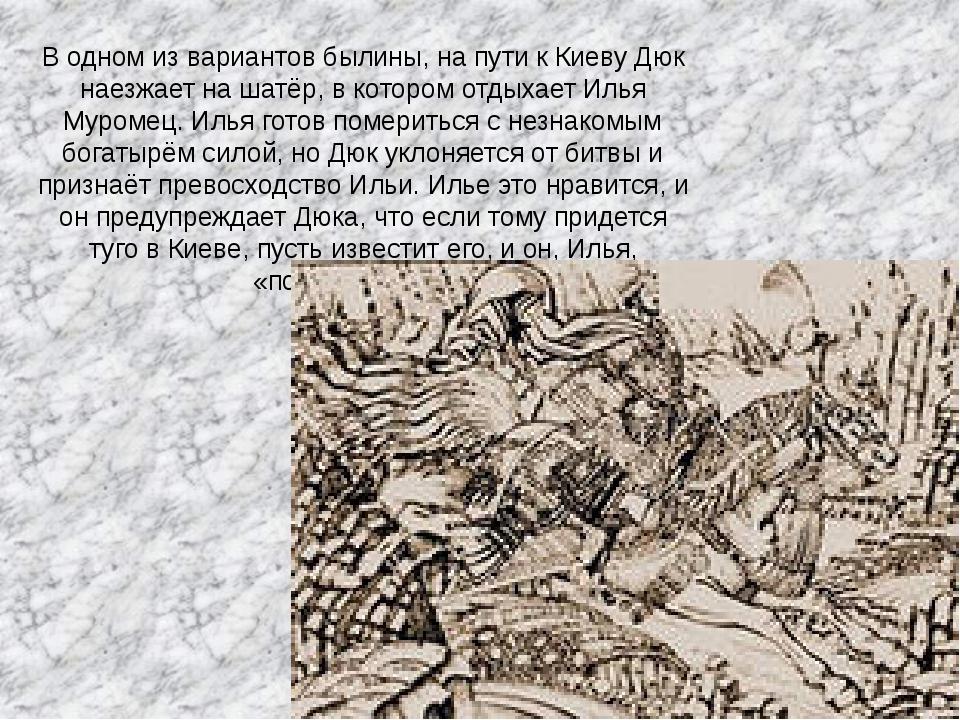 В одном из вариантов былины, на пути к Киеву Дюк наезжает нашатёр, в котором...