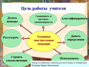 Цель работы учителя Основные мыслительные операции Сравнивать и находить зако