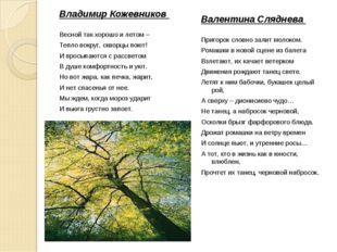 Владимир Кожевников Весной так хорошо и летом – Тепло вокруг, скворцы поют! И