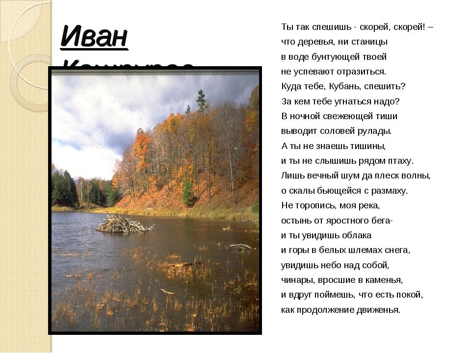 Иван Кашпуров Ты так спешишь - скорей, скорей! – что деревья, ни станицы в во...