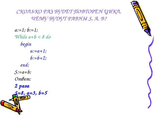 СКОЛЬКО РАЗ БУДЕТ ПОВТОРЕН ЦИКЛ, ЧЕМУ БУДУТ РАВНЫ S, A, B? a:=1; b:=1; While...