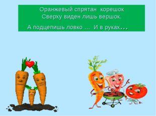 Оранжевый спрятан корешок Сверху виден лишь вершок. А подцепишь ловко … И в